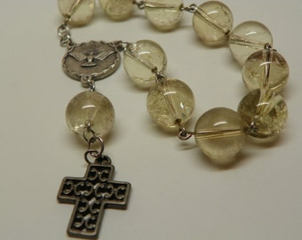 Glass bead Chaplet with Dove Medal and Cross (CH6)