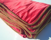 Red Satin Blanket Throw - Gold Trim - Red and Gold Home Decor - Red Blanket Gold Accent