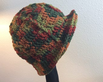 Autumn Leaves Adult Cloche Fedora Hat Hand Crocheted