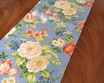 14 1/2x63 inches Light blue table runner