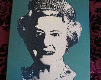 queen elizabeth II handmade painting portrait on framed canvas