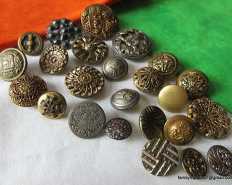 0171 – 24 Metal Antique and Vintage Buttons, Some Twinkles, Most Backmarked, Some Verbals