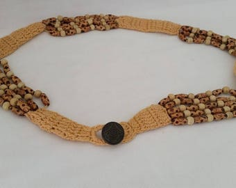 Vintage Crochet Belt Accented With Wood Beads. Crochet And Wood Bead Front Button Closure Belt. Cute Crochet Tan and wood Belt