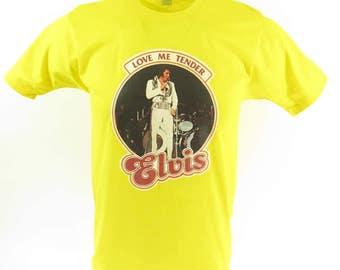 Vintage 70s Elvis Presley T-shirt Mens L Deadstock Love Me Tender 50/50 [H54Y_0-6]