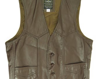 Vintage 60s Cooper Leather Vest Mens L Deadstock Brown USA Made [H73S_0-14_Leather]