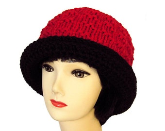 Women's Fedora Hat, Red Hat, Red Fedora, Alpaca Hat, Chunky Knit, Wool Hat, Knit Hat, Winter Hats for Women, Gifts for Her, Sue Maun