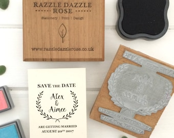 Personalised Save the Date Wedding Rubber Stamp - Laurel Design