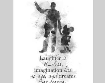 Walt Disney Mickey Mouse inspired Quote ART PRINT illustration, Black and White, Disney, Wall Art, Home Decor, Nursery