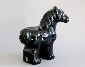 Jie Gantofta ceramic horse figurine black beauty pottery pony statuette scandinavian Sweden vintage retro stallion statue seventies