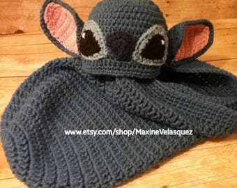 Stitch inspired hat and cocoon set (From Lilo and Stitch) Crochet Newborn, 0-3 months beanie and cocoon set Made to order Photo prop costume
