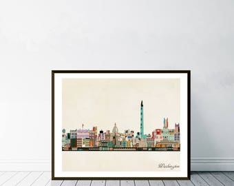 washington dc skyline.washington cityscape.washing city skyline.colorful pop art skylines for home decor.Giclee art print.color your world