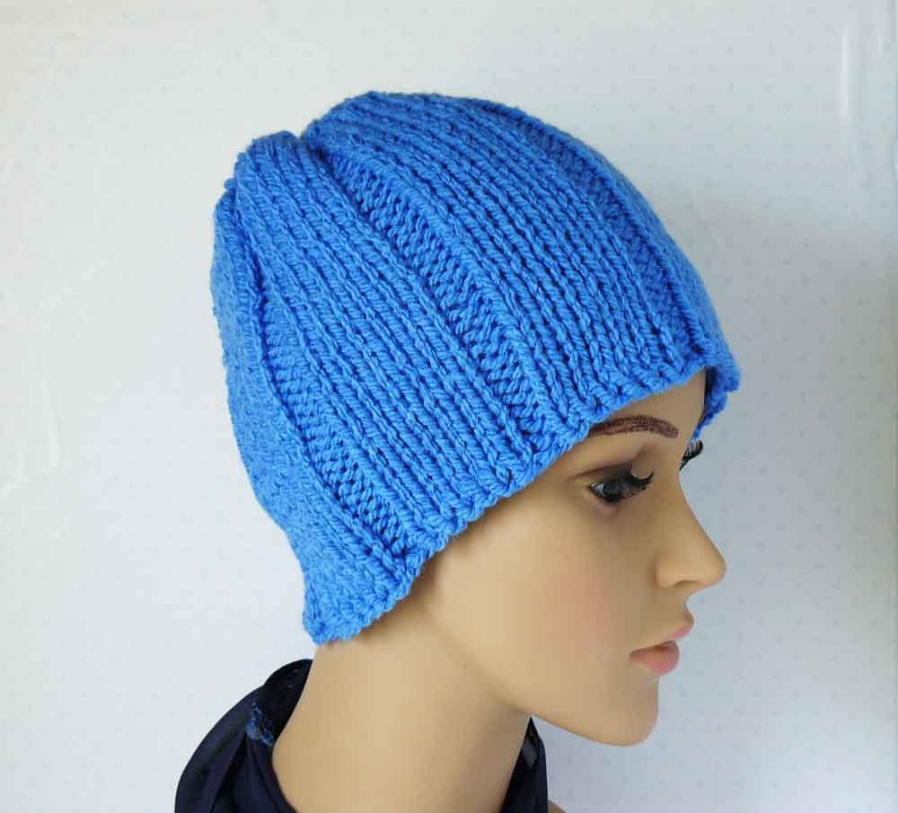 Womens Knit Hat Pattern : Knitting PATTERN Knit Chunky Beanie Pattern Womens Knit Hats