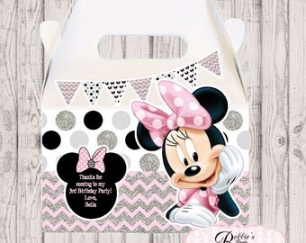 Minnie Mouse party favor box, Pink and Silver  Minnie Mouse gable box, 10 Minnie Mouse party favor gable box, Minnie Mouse favor box
