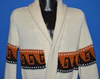 70s White Zig Zag Belted Robe Sweater Medium
