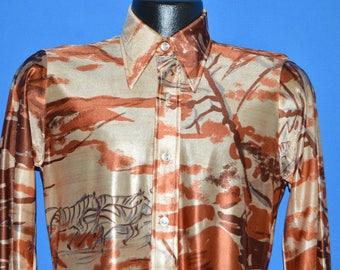 70s Beeline Zebra Stampede Safari Disco Shirt Medium