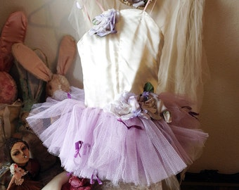 Vintage girls ballerina costume childs ballet tutu tulle skirt shabby romantic display prop