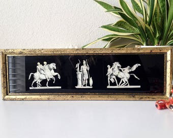 Vintage greek glass print classical figures warriors framed print black gold frame mid century wall hanging