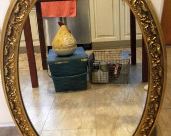 Vintage/Antique Wood Gilded Framed Oval Mirror Hollywood Regency Mirror