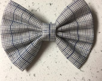 Blue & Grey Graph Bow or Bow Tie