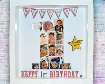 Birthday Number Collage, Personalised Photo Collage, Birthday Gift, 1st Birthday Present