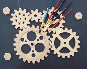 Wooden Gears - Five one half ( 1/2) Inch gears / cogs,  Steampunk Decor, Industrial Design,  Primitive Decor,  Mechanical Art, Gino White