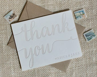 Letterpress Thank you card set customized with names, folded thank you cards in calligraphy