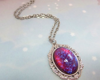 Dragon's Breath Necklace Mexican Opal Necklace Large Fire Opal Pendant Jewelry Victorian Goth