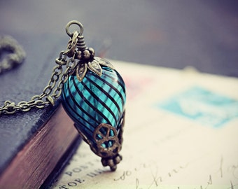 Balloon Necklace Hot Air Balloon Steampunk Jewelry Turquoise Airship Blue Glass Dirigible Pendant Around the World 80 Days Neo Victorian