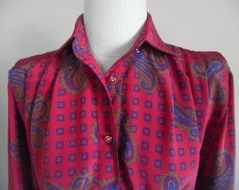 Vintage 1980s Red/Multi Paisley Print Placket Front, Straight Shirt Dress by Schrader, Petites