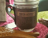 Leather Mason Jar Mug Cozy - Western Floral Design