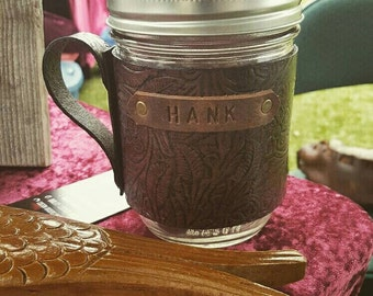 Leather Covered Mason Jar Glass Mug Cozy - Western Floral Design can be Personalized