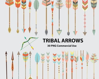 50% SALE Tribal arrows clipart, tribal clipart, arrows clipart, arrows clip art, tribal clip art, arrows, arrow, bow and arrow, coral arrows
