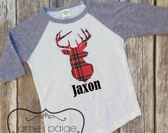 Christmas Shirt for Boy - Plaid Deer Head - CHRISTMAS SHIRT, Personalized Shirt, Boys Santa Outfit
