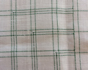 Vintage plaid linen tablecloth