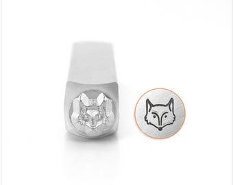 Fox head metal design stamp , metal stamping , 6 mm stamp