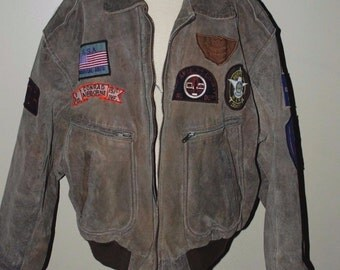 Vintage Mens Leather Flight Jacket PHASE 2 Patch Aviator Bomber Size XL