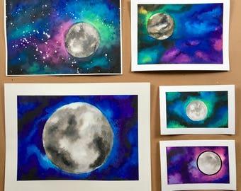 Original Watercolor Galaxies with Moons