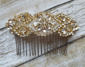 Wedding Hair Comb - Rhinestone with Gold Details - Style H1702