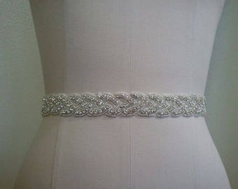 SALE - Wedding Belt, Bridal Belt, Sash Belt, Crystal Rhinestone Sash - Style B70022