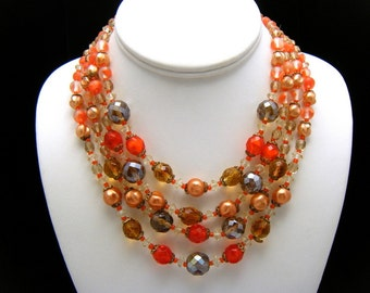 Vintage West Germany 4 Strand Bead Necklace Bold Orange Art Glass Faux Pearl