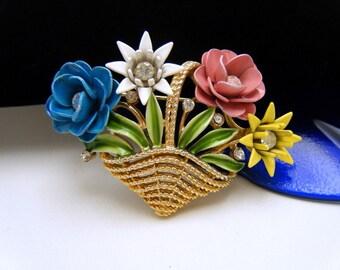 Crown Trifari Vintage Enamel Rhinestone Flower Basket Brooch Multi Color