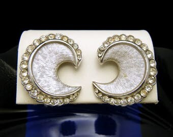 Vintage Crown Trifari 1960s Clear Rhinestone Earrings Silver Tone