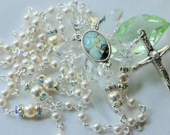 Catholic Swarovski White Crystal Pearl Baptism Rosary in Silver