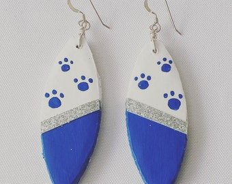 Boho Chic UK Wildcats Wood Earrings with Silver Accent