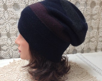 Navy merino wool sweater hat-Upcycled-recycled felted navy, burgundy and grey merino wool slouch hat-made from sweaters