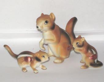 Japan Chipmunks Miniature Bone China 3 Lot Family Animal Figurine Mom and Babies