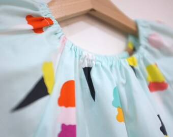 dress girl gift toddler cotton ice cream / eco friendly natural aqua pastel / tween child / party dress / size 1 2-3 4 5 6 7-8 9 years
