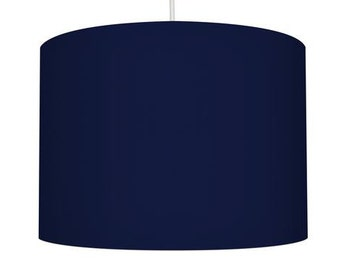 Navy Blue Linen Fabric Drum Lampshade, Small Lampshade 20cm - Large Lampshade 40cm or Custom Order