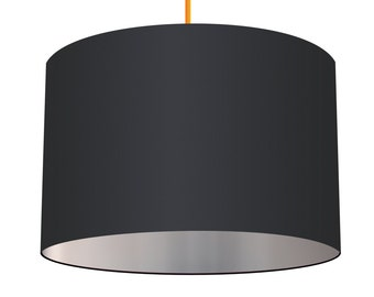 Black Linen Fabric Drum Lampshade With Metallic Silver Effect Lining, Small Lampshade 20cm - Large Lampshade 40cm or Custom Order