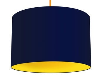 Navy Linen Fabric Drum Lampshade With Contrasting Citrus Yellow Cotton Lining, Small Lampshade 20cm - Large Lampshade 40cm or Custom Size